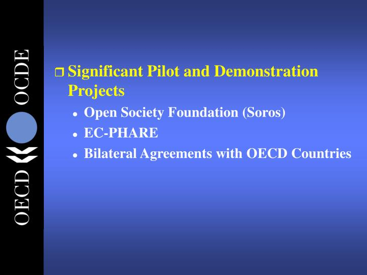 Significant Pilot and Demonstration Projects