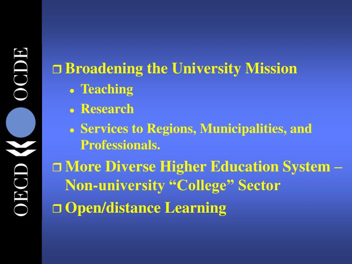 Broadening the University Mission