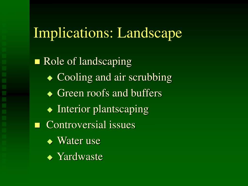 Implications: Landscape