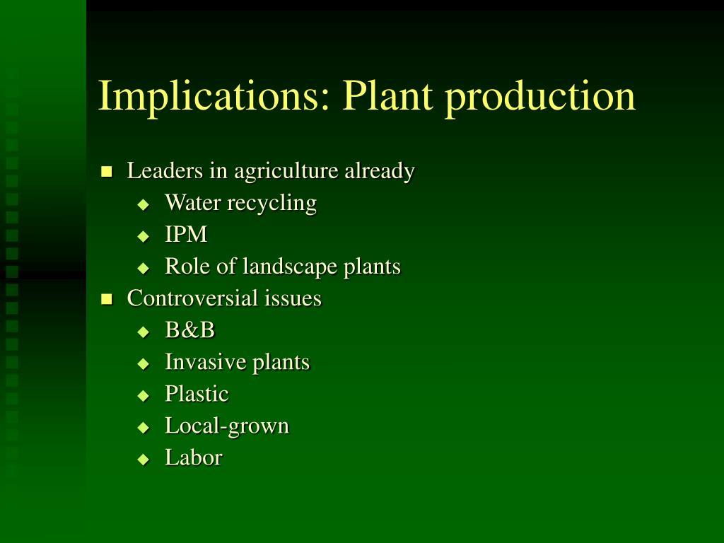 Implications: Plant production