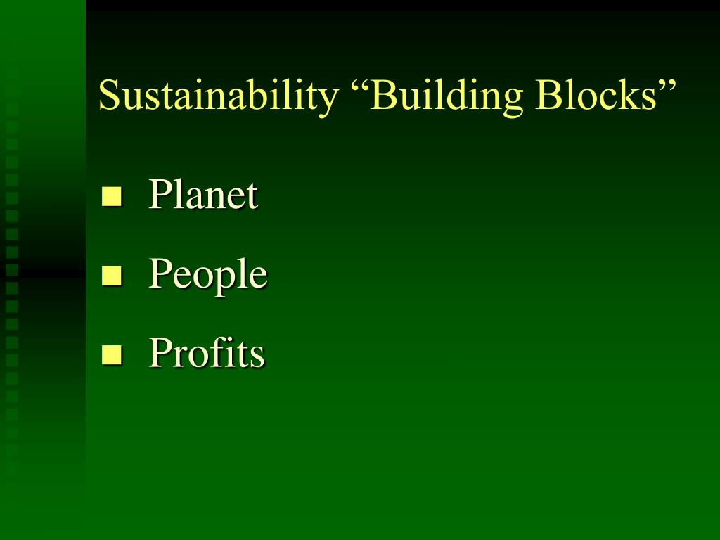 "Sustainability ""Building Blocks"""