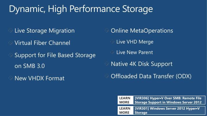 Dynamic, High Performance Storage