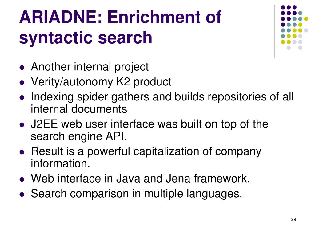 ARIADNE: Enrichment of syntactic search