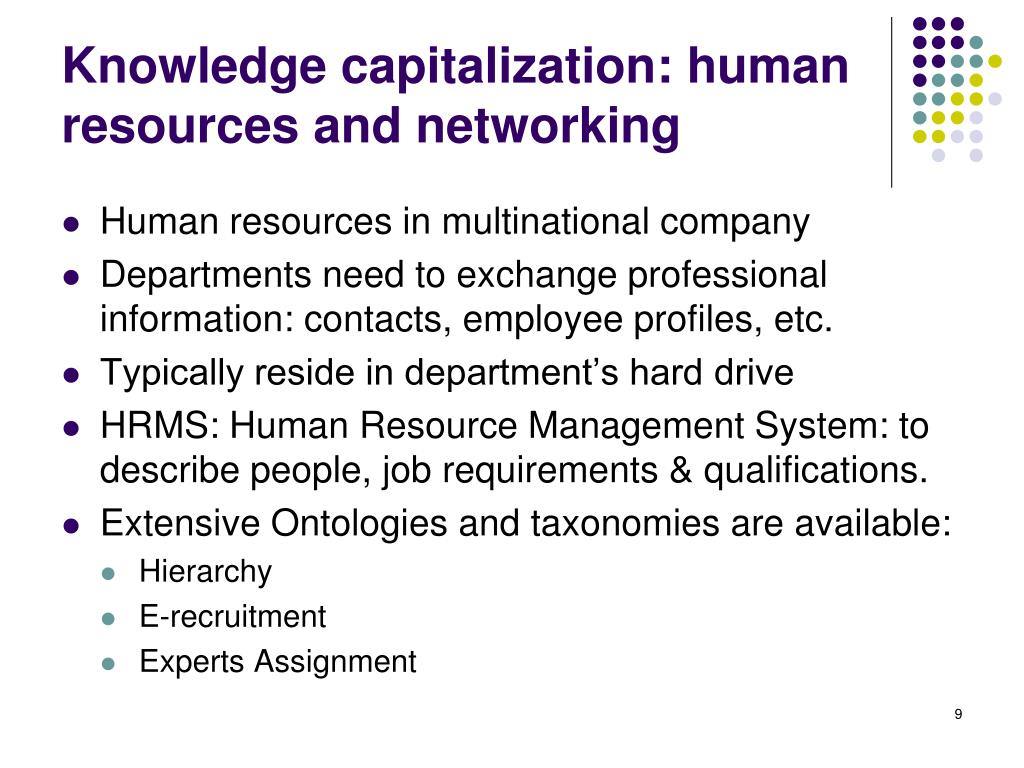 Knowledge capitalization: human resources and networking