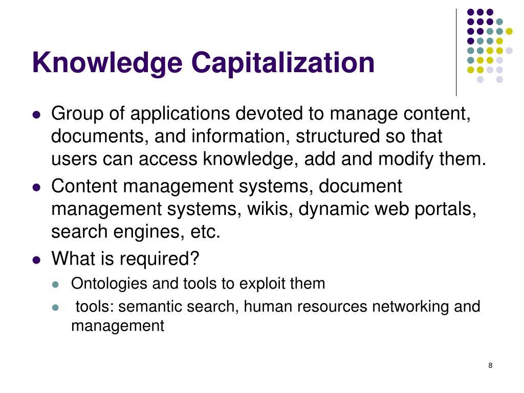 Knowledge Capitalization