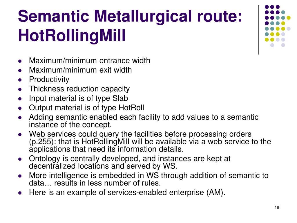 Semantic Metallurgical route: HotRollingMill