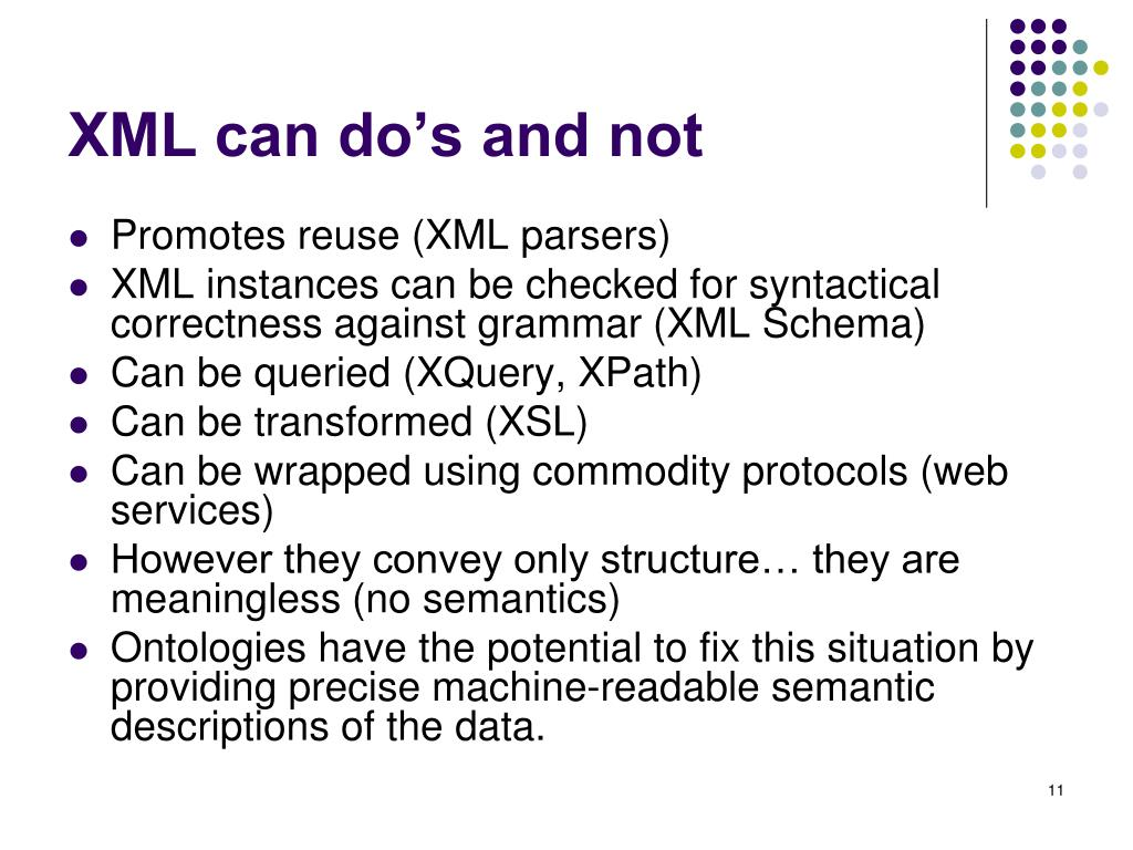XML can do's and not