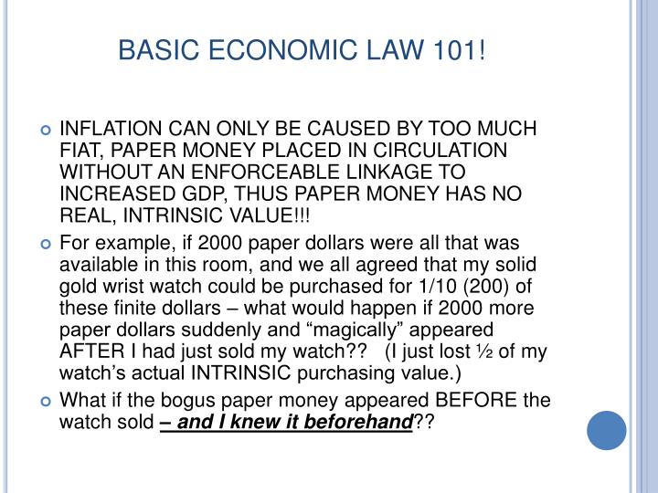 BASIC ECONOMIC LAW 101!