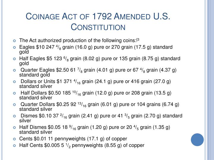 Coinage Act of 1792 Amended U.S. Constitution