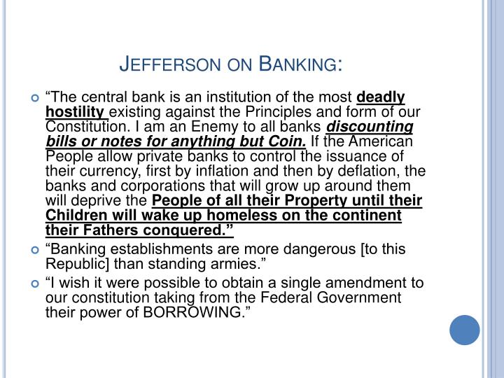 Jefferson on Banking: