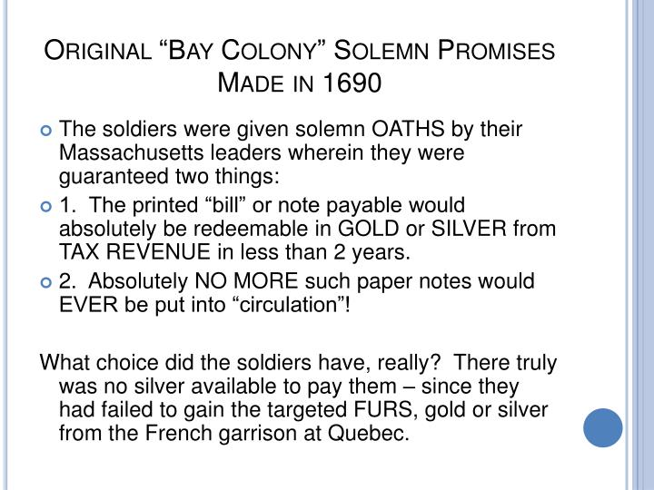 "Original ""Bay Colony"" Solemn Promises Made in 1690"