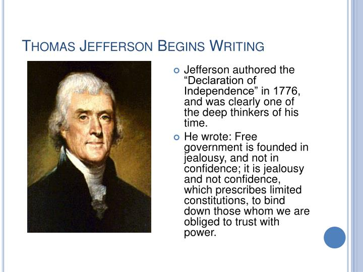 Thomas Jefferson Begins Writing