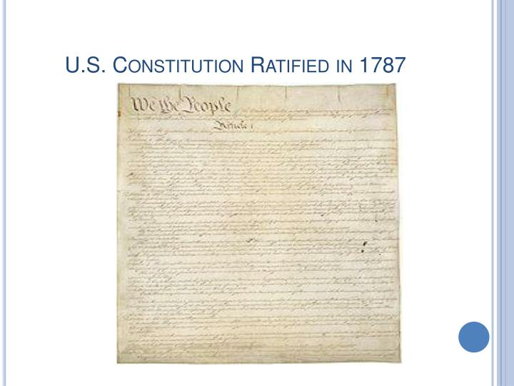 U.S. Constitution Ratified in 1787