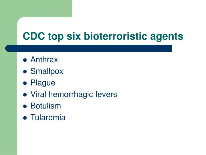 CDC top six bioterroristic agents
