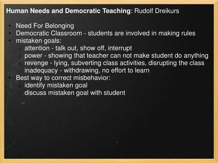 Human Needs and Democratic Teaching