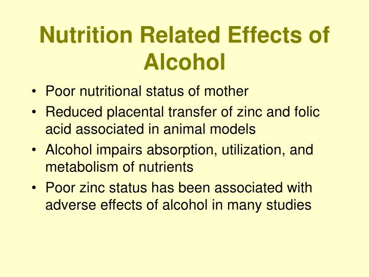 Nutrition Related Effects of Alcohol