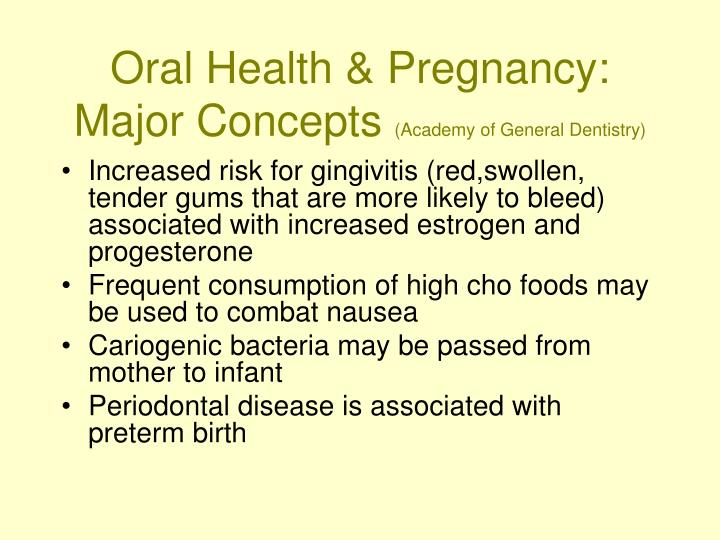 Oral Health & Pregnancy:  Major Concepts