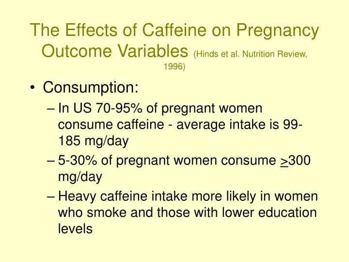 The Effects of Caffeine on Pregnancy Outcome Variables