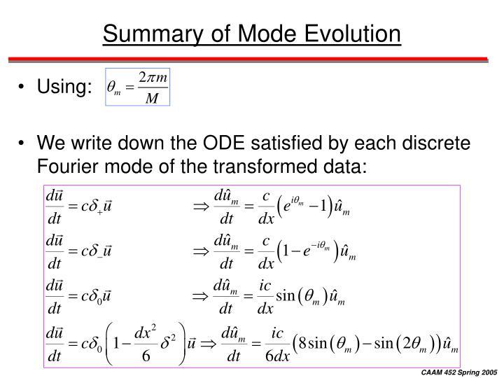 Summary of Mode Evolution