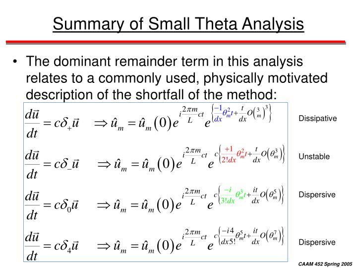 Summary of Small Theta Analysis