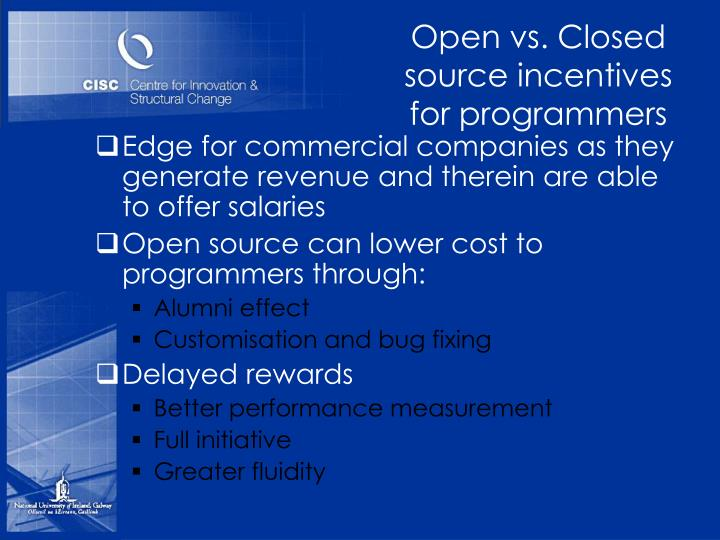 Open vs. Closed source incentives for programmers