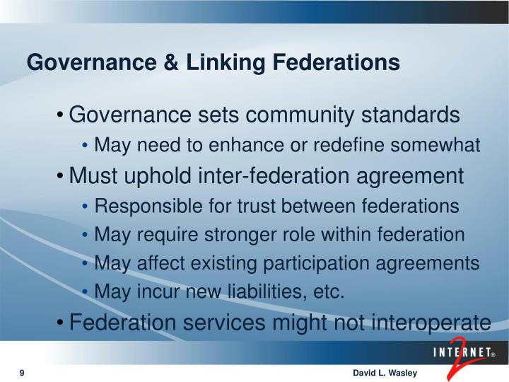 Governance & Linking Federations