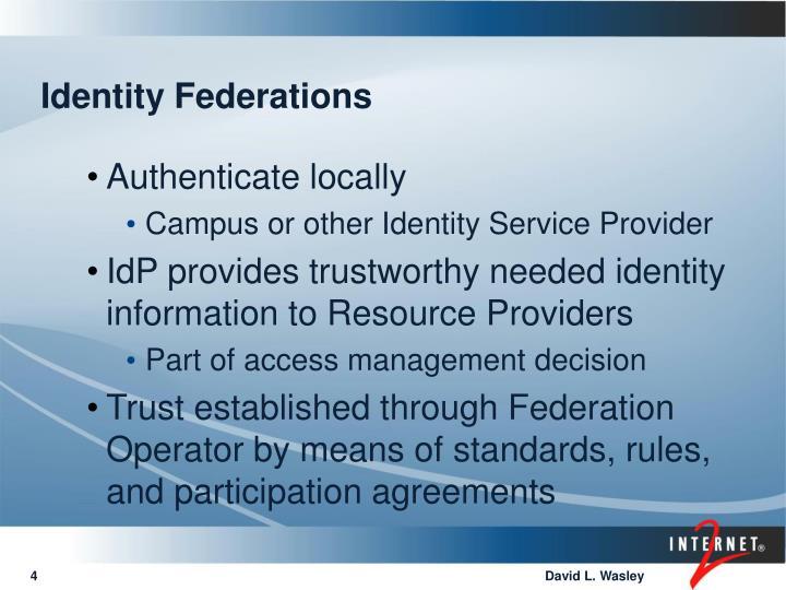 Identity Federations