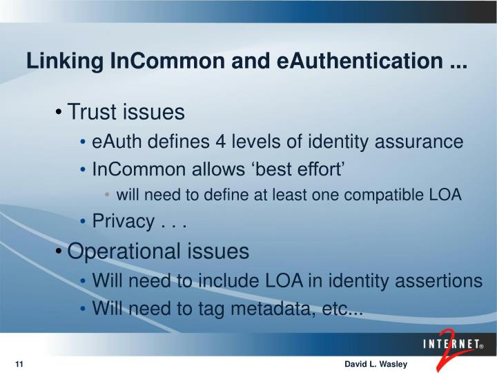 Linking InCommon and eAuthentication ...