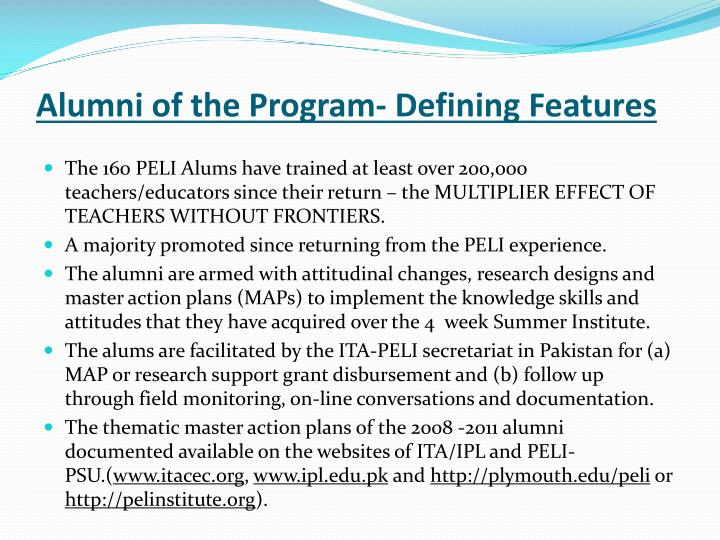 Alumni of the Program- Defining Features