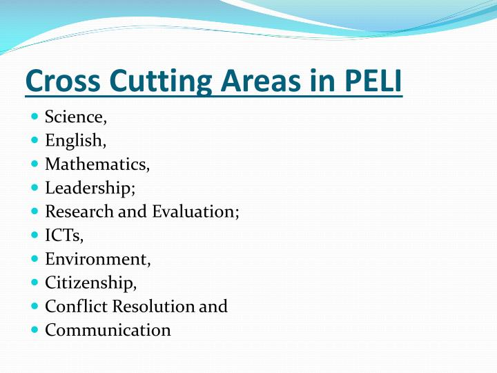 Cross Cutting Areas in PELI
