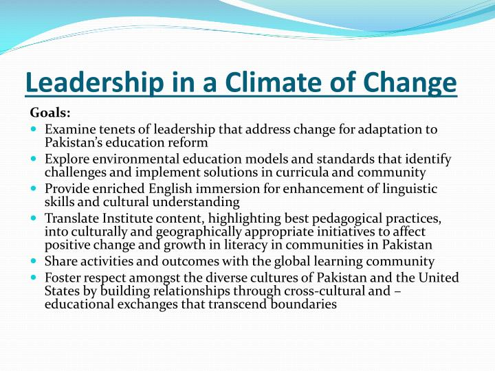 Leadership in a Climate of Change