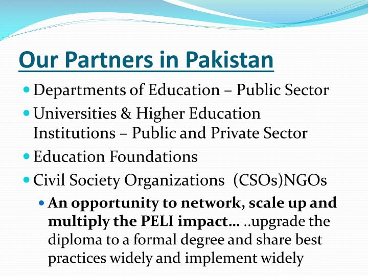Our Partners in Pakistan