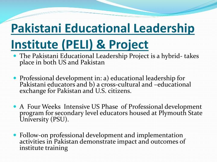 Pakistani Educational Leadership Institute (PELI) & Project
