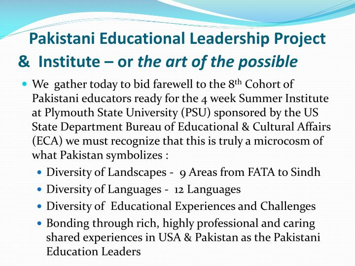 Pakistani Educational Leadership Project &  Institute – or