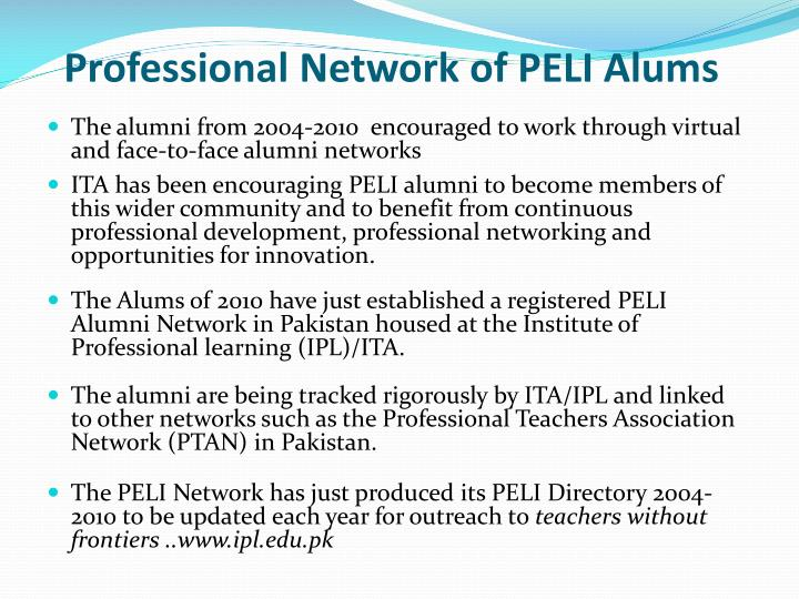 Professional Network of PELI Alums