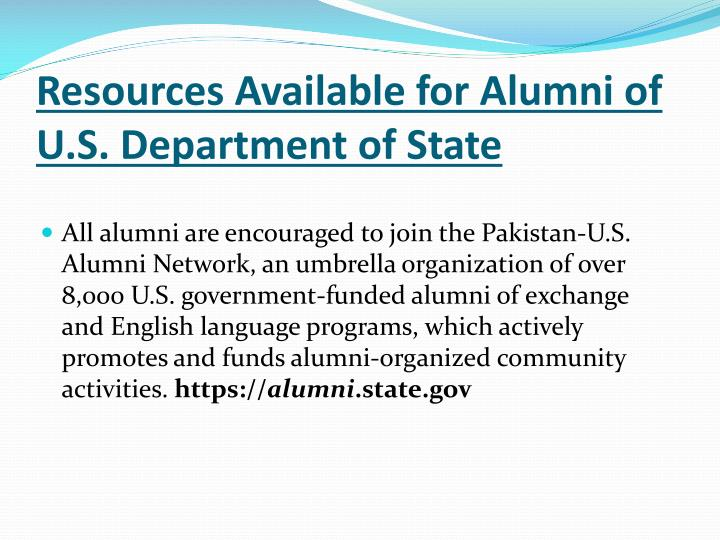 Resources Available for Alumni of U.S. Department of State