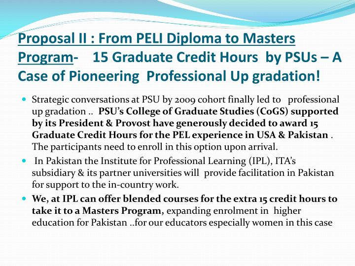 Proposal II : From PELI Diploma to Masters Program