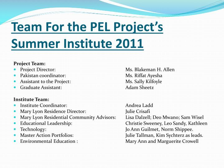Team For the PEL Project's Summer Institute 2011