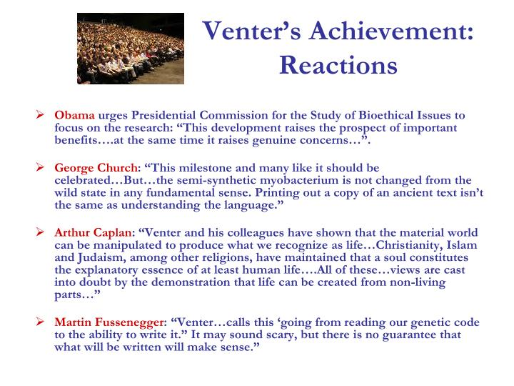Venter's Achievement: