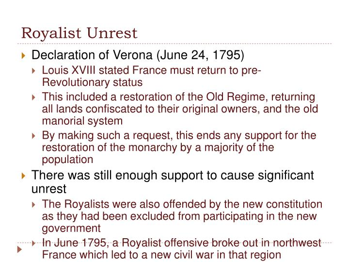 Royalist Unrest
