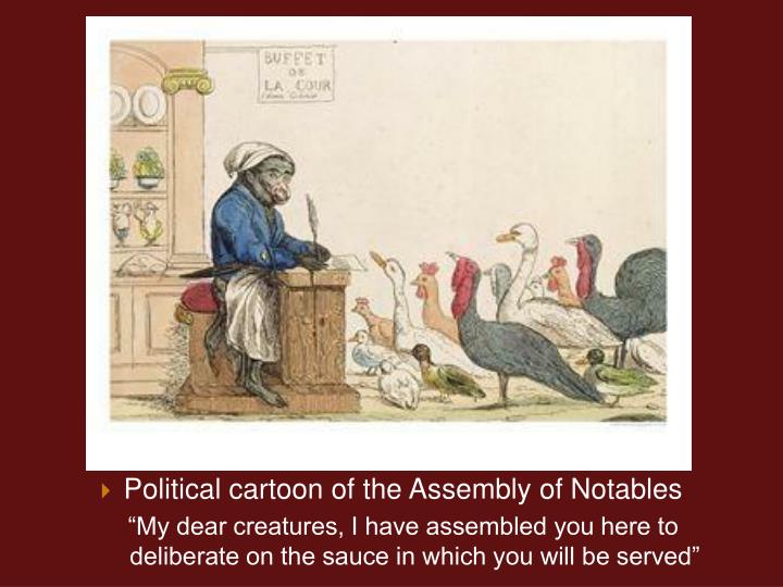Political cartoon of the Assembly of Notables
