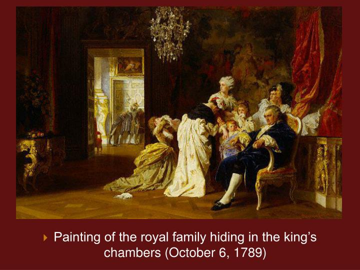 Painting of the royal family hiding in the kings chambers (October 6, 1789)