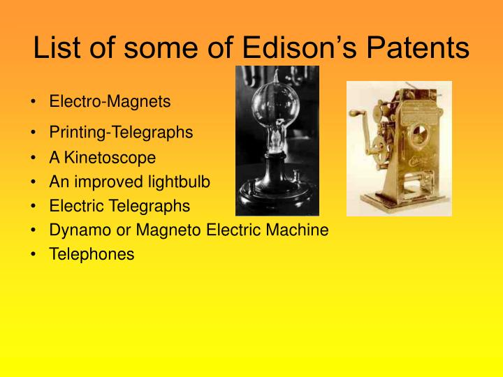 List of some of Edison's Patents