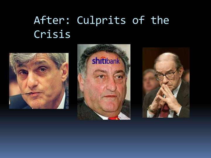 After: Culprits of the Crisis