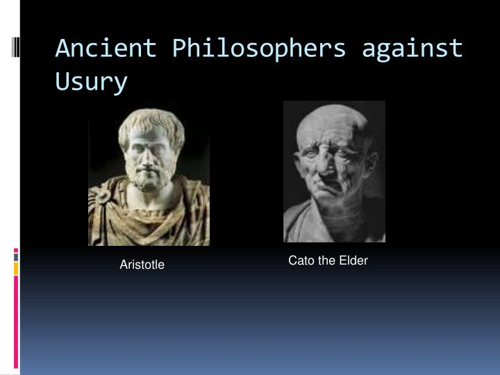 Ancient Philosophers against Usury