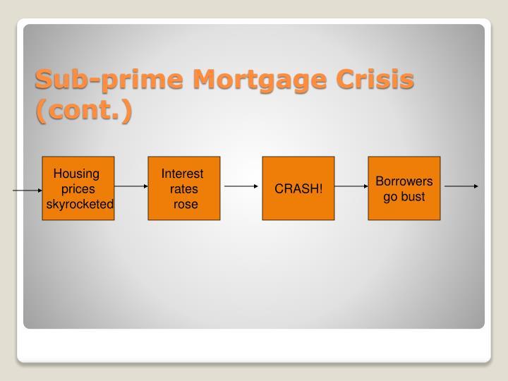 Sub-prime Mortgage Crisis (cont.)