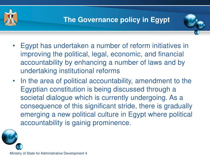 The Governance policy in Egypt