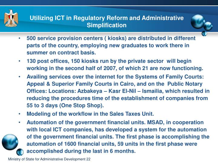Utilizing ICT in Regulatory Reform and Administrative Simplification