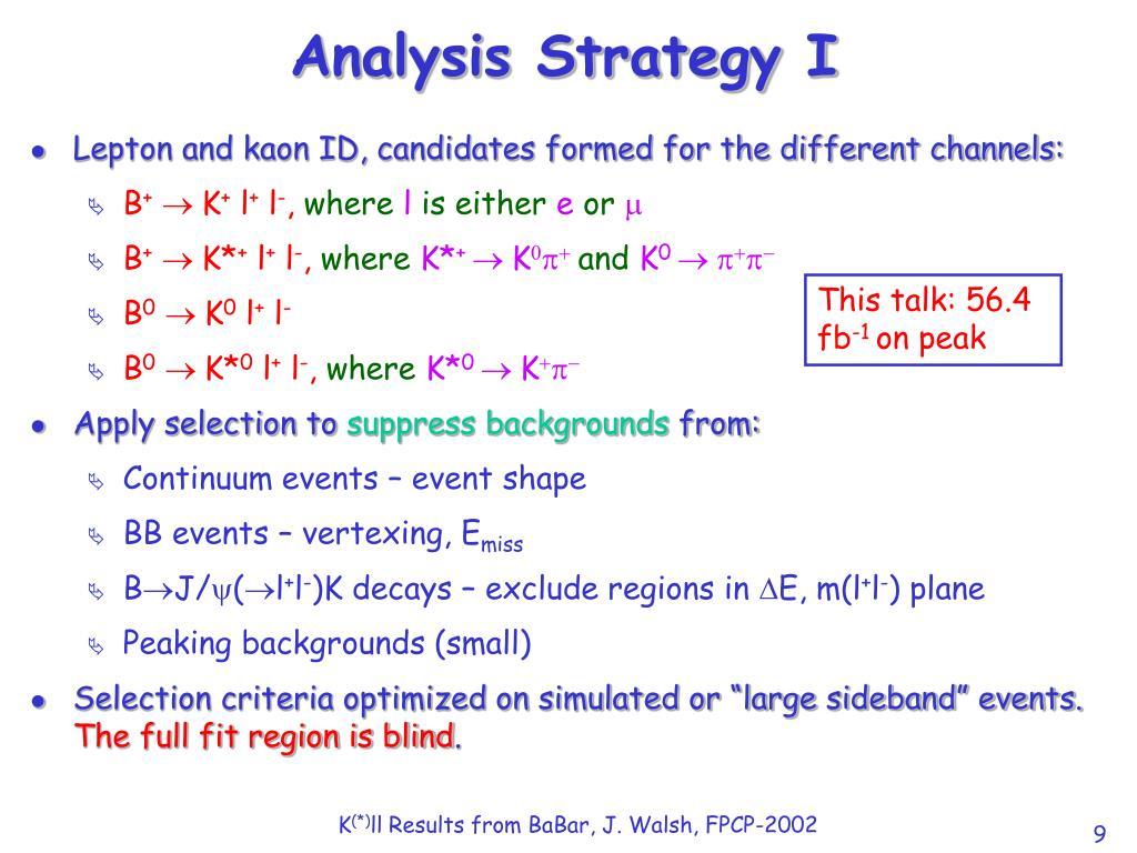 Analysis Strategy I
