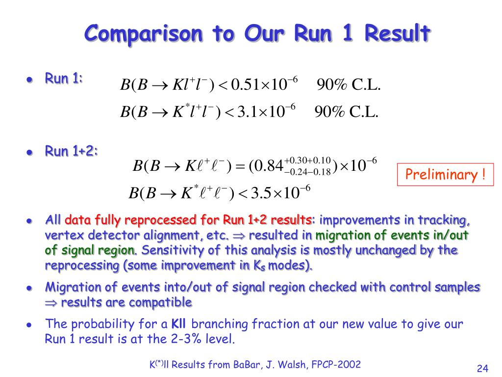 Comparison to Our Run 1 Result